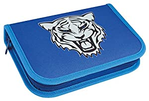 Eberhard Faber 577522 Tiger - Estuche Escolar con 2 Solapas Interiores y Cremallera (50 Piezas, Incluye lápices, Regla, lápiz, Cartuchos de Tinta y Accesorios), diseño de Tigre, Color Azul