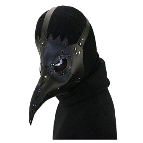 Quner Halloween Maske, Pestdoktor Schnabelmaske Pest-Maske Cosplay ,Retro Felsen Party Masken Steampunk Kostüm Dekoration (Schwarz)