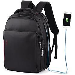 """Vbiger impermeable Anti-robo Mochila de carga USB para portátiles de hasta 14"""" (Negro)"""