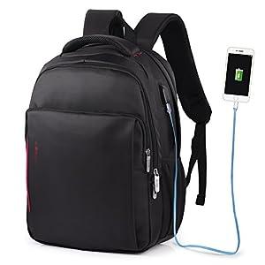 41lrbP7TjJL. SS300  - Vbiger - Mochila de trabajo multiusos de 15,6 pulgadas, bolsa bandolera para ordenador portátil, bolsa para estudiantes con bolsillo Frid, color negro