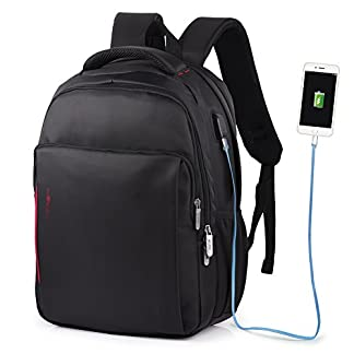VBIGER Impermeable Mochila Portatil con Puerto USB para Estudiantes Negocios Viajes,14″ 15.6″ (15.6″, Negro)