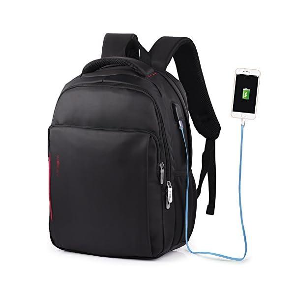 41lrbP7TjJL. SS600  - Vbiger - Mochila de trabajo multiusos de 15,6 pulgadas, bolsa bandolera para ordenador portátil, bolsa para estudiantes con bolsillo Frid, color negro