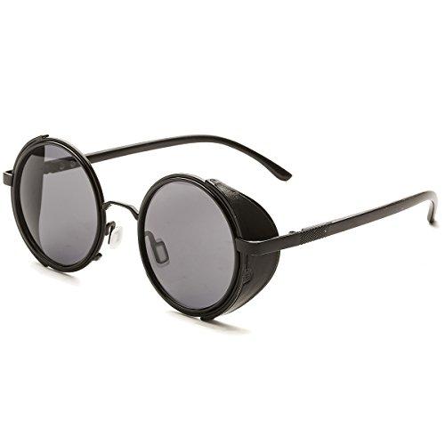 Dollger Steampunk Runde Gläser Retro Unisex Metallkreis Rahmen Sonnenbrille(Schwarz Linse+Schwarzrahmen)