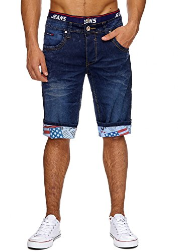 Jaylvis Herren Jeans Shorts Kurze Bermuda Hose Used Washed USA H1864, Farben:Dunkelblau, Größe Hosen:W38