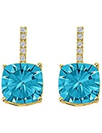 Unique Drop Style Blue Topaz and CZ Square Earrings
