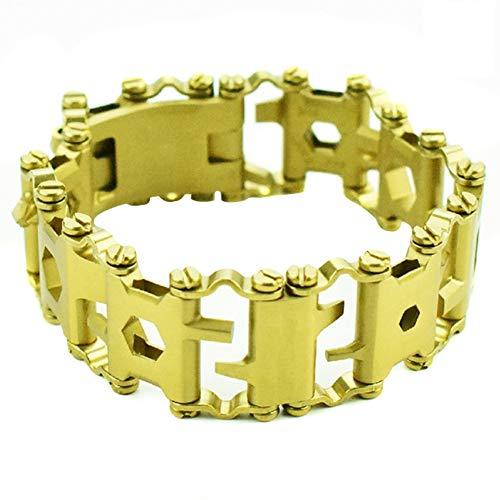Ohyoulive Multi-Tools Bracelet 29-In-1 - Multifunction Tool Stainless Steel Bracelet Screwdriver Opener Wrench Men and Women Combination Wide Version Narrow Version Outdoor Field Survival Bracelet -
