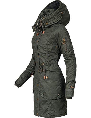 Khujo Damen Mantel Wintermantel Winterparka Baumwollparka YM-Mell (vegan hergestellt) 5 Farben XS-XXL Olive