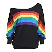 CUTUDE Womens Casual Loose Long Sleeve Rainbow Print Pullover Shirts Sweatshirt Tops Blouse Autumn Winter Outerwear Causal Jacket Coat Fashion 2018