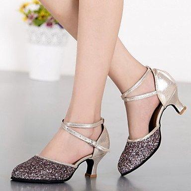Silence @ Chaussures de danse pour femme en cuir/cuir verni Cuir/cuir verni latine/Jazz talons cubain Heelpractice/débutant/ champagne