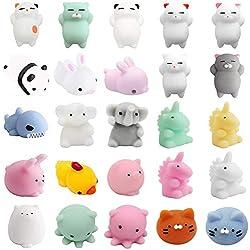 TSLIKANDO 25 Stücke Mochi Squishy Spielzeug Pack Mini Squishies Tiere Squeeze Stressabbau Spielzeug