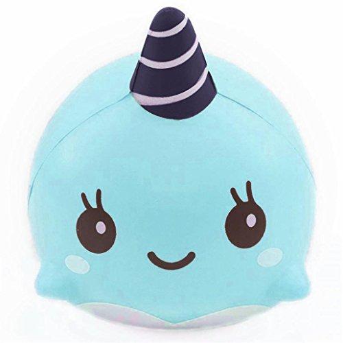 DOLDOA Stress Relief Spielzeug, 9CM weiche Whale Karikatur Squishy langsam steigende Squeeze Spielzeug Telefon Straps Ballketten (Kostümen Mops Bilder In)