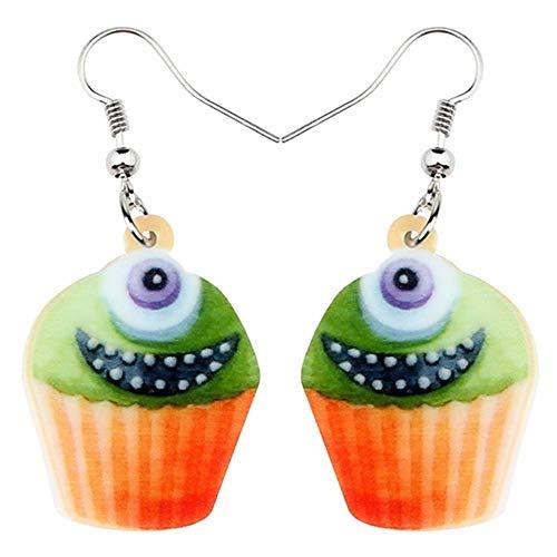 ZHWM Ohrringe Ohrstecker Ohrhänger Acryl Halloween Happy Monster Cupcake Ohrringe Tropfen Baumeln Neuheit Lebensmittel Schmuck Für Frauen Mädchen Teens Charms