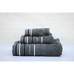 Juego toallas 3 piezas. 100% algodón ALTA CALIDAD. Densidad 520 gr/m2. Cordón GRIS ANTRACITA..