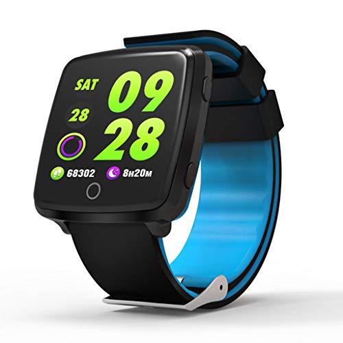 C-Xka IP67 Wasserdichte Smart Watch, Bunte Bluetooth-Armbanduhr/Pedometer-Analyse/Schlafüberwachung / Pulsmesser-Tracker für Android und Lange Standby-iOS-Smartphones (Farbe : Blau)
