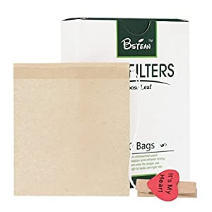 Bstean Tea Filter Bags Disposable Tea Infuser with Drawstring for Loose Leaf Tea with 100% Natural Unbleached Paper and Free Clip (100 PCS) by Bstean