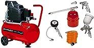 Einhell TC-AC 190/24 - Compresor, depósito de 24 l, 2850 rpm, 8 bar, 1500 W, 220 V, color rojo y negro (ref. 4