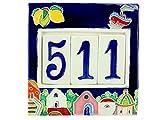 fd-bolletta arredamento e illuminazione Numeri civici in Ceramica con Numeri e Lettere da collocare nell'apposita Cornice,Targa con civici e Lettere,mattonella a 3 posti da Esterno Colorata a Mano