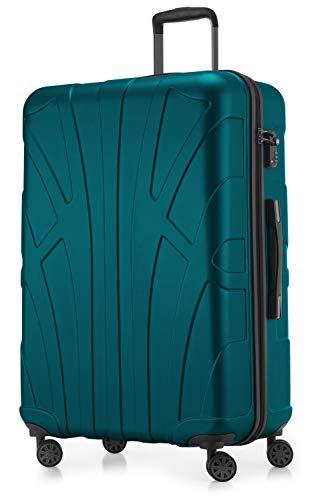 SUITLINE - Hartschalen-Koffer Koffer Trolley Rollkoffer Reisekoffer, TSA, 76 cm, 110 Liter,Aquagrün - Erweiterbar Aufrecht Tasche