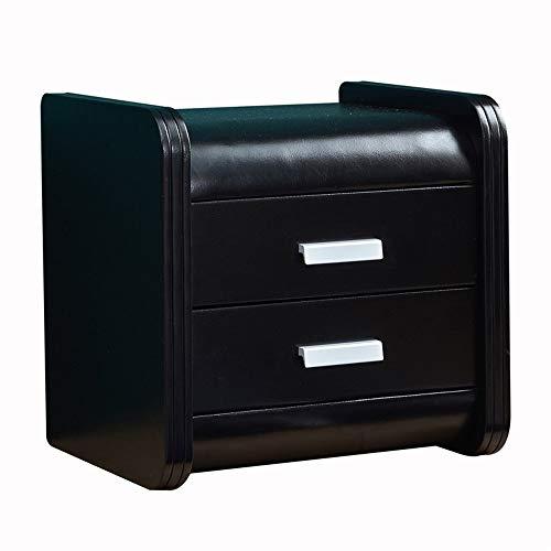 ZXPzZ Massivholz Schubladenschrank Gepolsterter Moderner Nachttisch Schlicht Moderner Nachttisch Aus Leder (Größe: 46x40x47cm) (Color : Black)