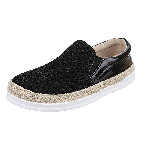 Slipper Damen Schuhe Low-Top Pailetten Deko Ital-Design Halbschuhe Schwarz JA3111-