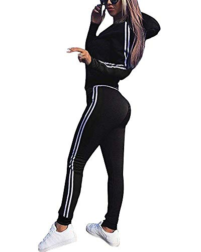 Minetom Tomwell Frauen Trainingsanzug Jumpsuit Damen Zipper Playsuits Sportswear Trainingsanzüge Overall 2 Stück Set Schwarz DE 34