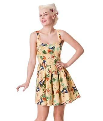 Hell Bunny Becky Tropical Mini Dress Sand - UK 8 (XS)