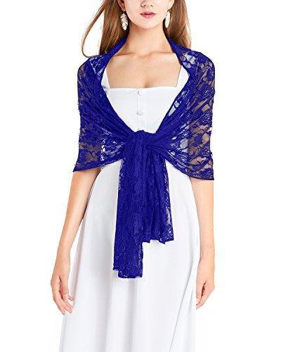 Timormode Spitzen Stolen Damen Tuch Floral Blumen Damen Schal aus Spitzen 10208 Royalblau 180cm*50cm