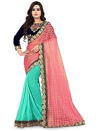 3b2fc38e48c Siddeshwary Fab Women s Pink Lycra Saree With Blouse Piece