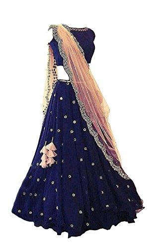 Yeoja Creation Women's Taffeta Lehenga Choli (Rimzim008,Blue,Free Size, Semi-Stitched)