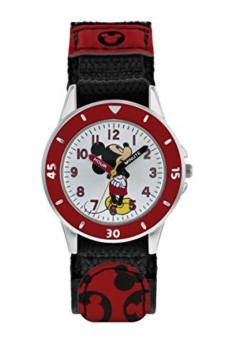 Mickey Mouse Reloj Analógico para Niños de Cuarzo con Correa en Tela