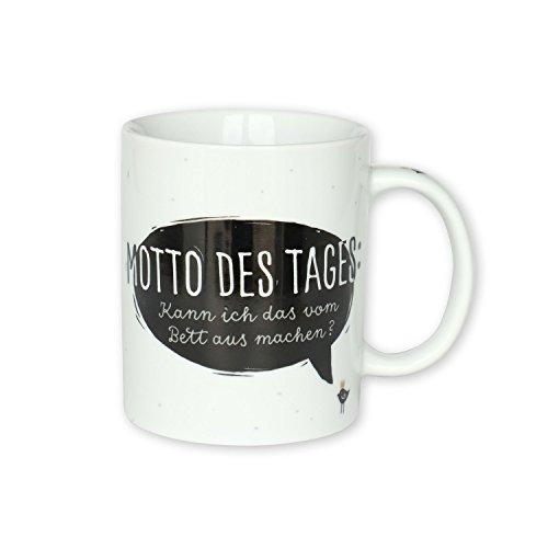 H:)PPYlife 44908 Tasse mit Motivdruck: 'Motto des Tages: Kann ich das vom Bett aus machen?', Porzellan, schwarz-weiß, Geschenktasse
