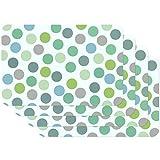 Venilia Tischset Platzset für Esszimmer CONFETTI BUNT MINT GRÜN VINTAGEPUNKTE-MUSTER, 4er Set abwischbar Polypropylen, lebensmittelecht 4 Stk. 45 x 30 cm, 4 Stück, 59057