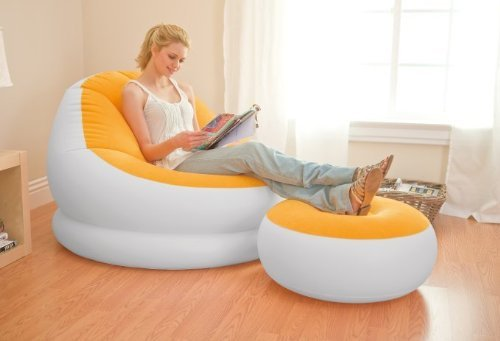 INTEX Inflatable Colorful Cafe Chaise Lounge Chair w/ Ottoman - Orange | 68572E  available at amazon for Rs.6444