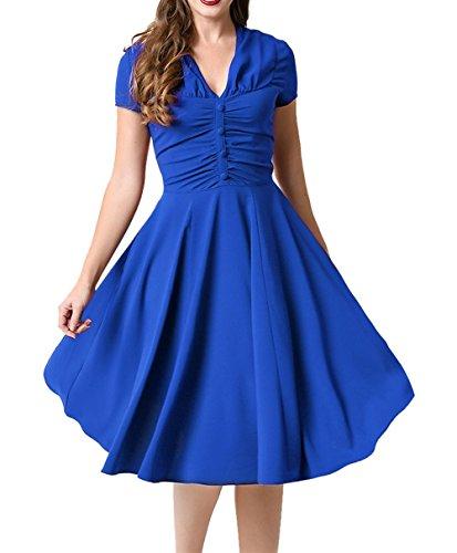 LUOUSE Damen Kurzarm Sommer Rockabilly Cocktailkleid Stretch Business retro 50er Jahre Kleid ,Blue,M
