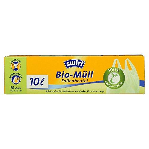 Swirl Bio-Müll-Folienbeutel mit Tragegriff, 10 Liter, 1 Rollen mit je 10 Beuteln