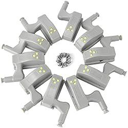 Boruit 10 pcs 0.25W Interior LED Gabinete Luz Lámpara de Inducción Universales Cocina Lámpara Lámpara para Muebles Sala de Estar Dormitorio(Blanco fresco)