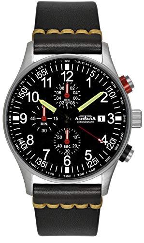 Astroavia Herren-Armbanduhr Chronograph Quarz mit Leder Armband schwarz N31L8