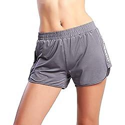 Ogeenier Mujer Ligero Deporte Pantalones Cortos de malla con forro