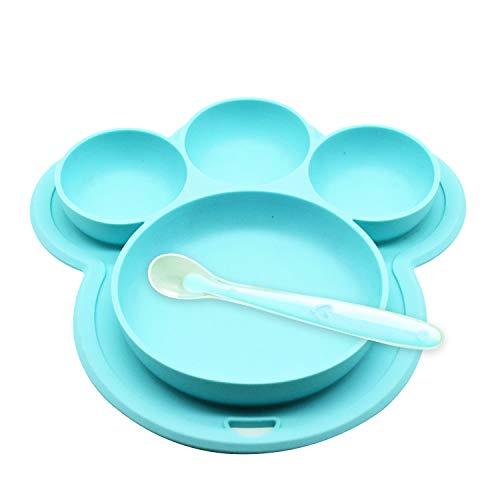 Yuccer Platos de Silicona para Bebes Niños Antideslizantes Cubiertos Bebe Cuchara FDA y Sin BPA (Azul)
