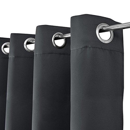 Beautissu Blackout-Vorhang Amelie mit Ösen – 140×245 cm Anthrazit (Grau) Uni – Verdunklungsgardine Ösenschal Blickdicht - 2