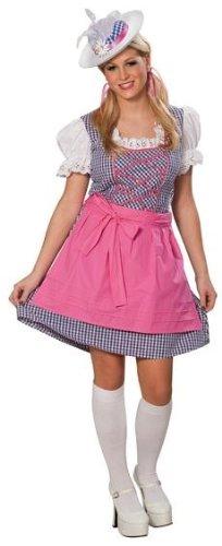 Dirndlkostüm Kostüm Dirndl für Damen Tracht pink weiß kariert Bluse Bayern Heidi Tirolerin Oktoberfest Trachtenkostüm Gr. 36, 38, 40, 42, 44, 46, Größe:44
