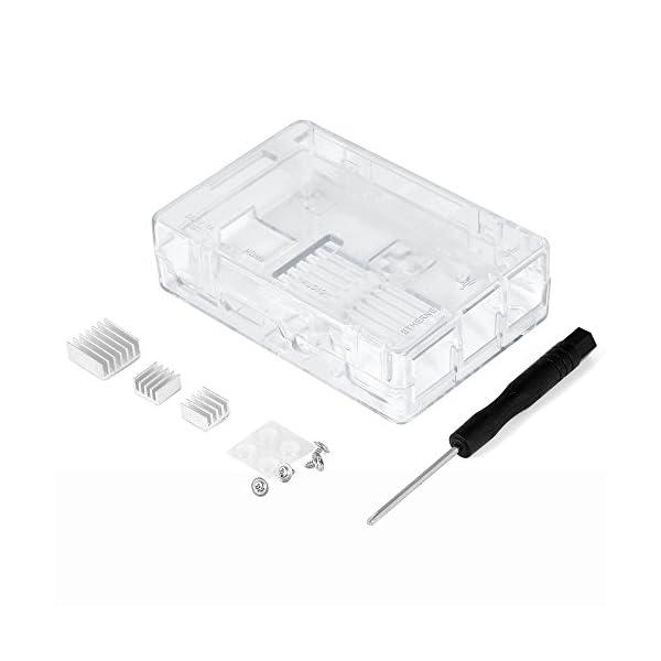 41lrodq96RL. SS600  - Aukru NUEVO 3-EN-1 Kit de Raspberry Pi 2 Modelo B/B + transparente Caja + 5v 2000mA alimentación + 3 conjunto del disipador de calor