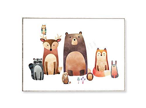 DIN A4 Kunstdruck Poster WALDFREUNDE -ungerahmt- Tier, Bild, Kinderzimmer, Fuchs, Bär, Hirsch, Eule, Hase, Igel, Waldtier, Kind, Illustration, skandinavisch