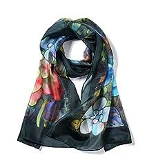 Idea Regalo - Invisible World Foulard Seta da Donna 100% Lunga Dipinta a Mano per Collo, Testa o Capelli - Peonie su Sfondo Nero