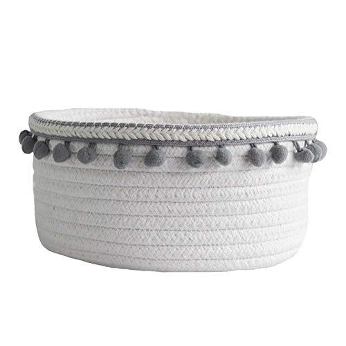 bulrusely Nordic Hair Ball Baumwollseil gewebt Ablagekorb, einfache Desktop Kleinigkeiten Baumwolle Aufbewahrungsbox, Lagerung von Spielzeug Kosmetik-dekorative Seil wonderful -
