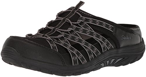 Skechers Women's Reggae Fest-Marlin-Fisherman Open Back Mule Relaxed Fit and a/C Memory Foam Water Shoe, Black, 5.5 M US - Skechers Reggae Fest