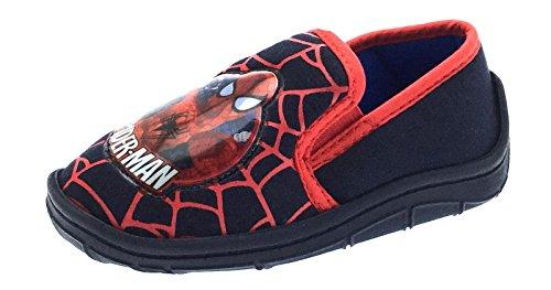 er, Jungen, im Spiderman-Stil, Superhelden-Motiv, Schlupfschuhe, Kleinkindschuhe, Größe 18,5 bis 20,5, Schwarz - schwarz - Größe: 28 EU Kinder (Superhelden-stiefel Für Kinder)