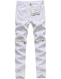 Pantalones Hombre,❤Dorame❤ Pantalones Elásticos Rasgados Pantalones Vaqueros Skinny destruyó Grabado Slim Fit Pantalones de Mezclilla Denim Pants