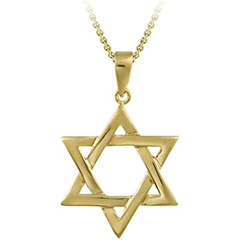 18K Gold over Sterling Silver High Polished Star of David