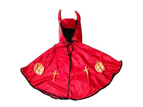DOOUYTERT Künstliche Blumen Maskerade Teufel Umhang mit Horn Weihnachten Kostüme Kapuzenumhang für Kinder (rot) Hochzeitssträuße